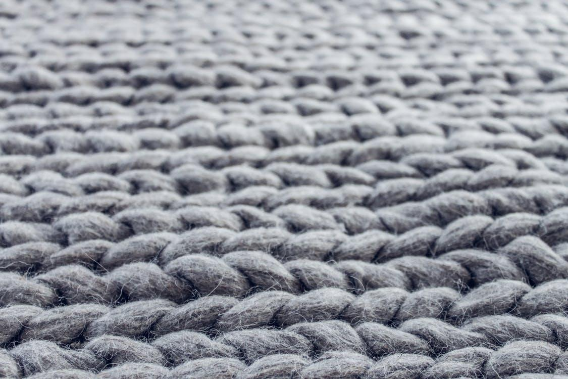 Close-up of Gray Cable Knit Cloth